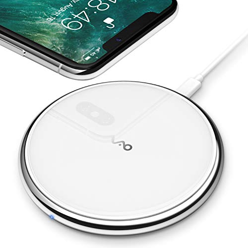No AC Adapter Wireless Charger Ultra Slim Antiskid Qi Certified Fast Charging Pad Compatible with iPhone X 8 8Plus Samsung Galaxy S6 S7 S8 Note5 Note8 and More