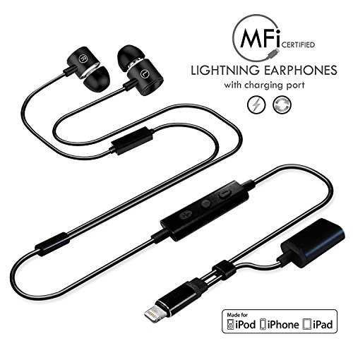 Apple MFI Certified Compatible Lightning Headphone/Earphone/Earbud with Mic, Volume Control, Wired HiFi Stereo In-Ear Headphones and Lightning charging port Replacement for iPhone 7/7+/8/8+/X