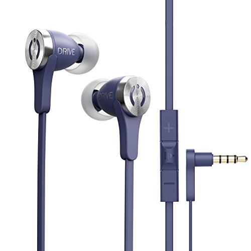 Noise Cancelling Premium Stereo Headphone Earbuds w/Mic, Ergonomic fit for Men & Women, Blue – MuveAcoustics Drive Wired in-Ear Earbud Headphones