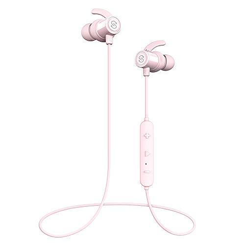 SoundPEATS Bluetooth Earphones, Wireless 4.1 Magnetic Earphones, in-Ear IPX6 Sweatproof Headphones with Mic Superior Sound with Upgraded Drivers, APTX, 8 Hours Working Time, Secure Fit Design-Pink