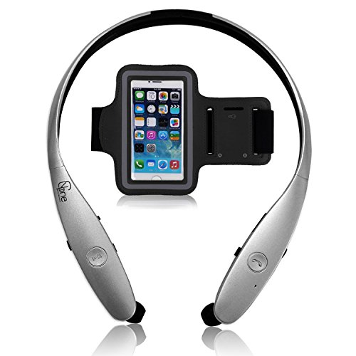 Silver – YG one Wireless Bluetooth Stereo Headset Neckband, The Perfect Sport Pack, a Small Hanging Rack and Black Armband Suitable for All Mobile Phones