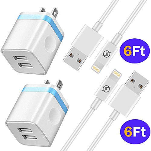 NNICE Phone Charger 6Ft with Plug, 6 Foot Fast Charging Cable Sync Cord and Dual Port UL Certified USB Wall Charger Adapter Compatible with Phone XS/XS Max/XR/X/ 8/7/ 6S Plus, 5C/ 5S/ SE4 in I