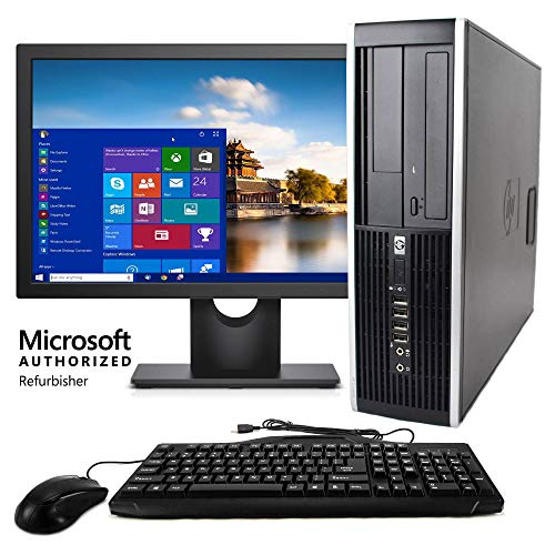 HP Elite Desktop Computer, Intel Core 2 Duo 2.9 GHz, 8 GB RAM, 500 GB HDD, Keyboard & Mouse, Wi-Fi, 17in LCD Monitor Brands Vary, DVD, Windows 10, Upgrades Available Renewed