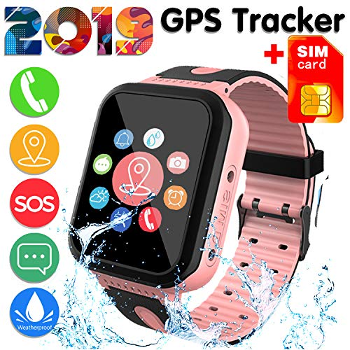 SIM Card IncludedKids Smart Watch Phone for Girls Boys – IP68 Waterproof GPS Tracker Locator Touch Camera Games SOS Outdoor Digital Wrist Cellphone Watch Bracelet for Holiday Birthday Gifts 01Pink