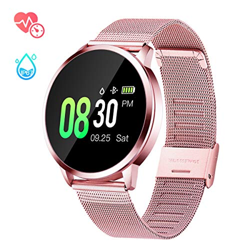GOKOO Sports Smart Watch for Women with All-Day Heart Rate Blood Pressure Sleep Monitor IP67 Waterproof Activity Tracker Calorie Sport Running Counter Bluetooth Smartwatch Fitness Tracker Pink