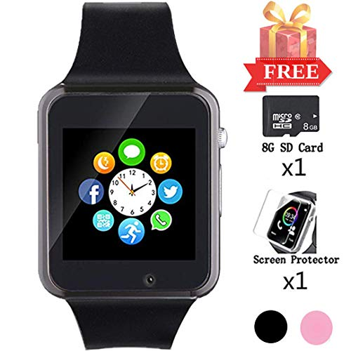 Smart Watch for Android Phones, Bluetooth Smartwatch with SD SIM Card Slot Watch Phone Call Message Camera Pedometer Compatible with iOS iPhone Partial Functions Sweatproof for Kids Women Men