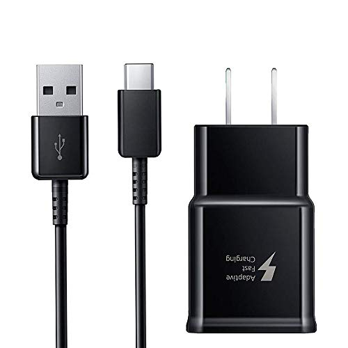 Adaptive Fast Wall Charger Adapter with USB Type C to A Cable Cord Compatible Samsung Galaxy S10 / S9 / S9+ / S8 / S8 Plus/Active/Note 8 / Note 9 and More