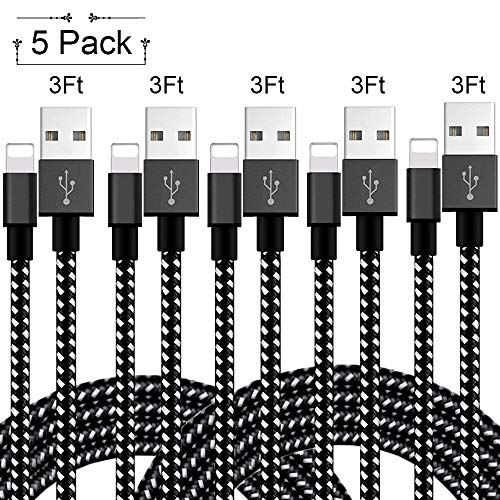 iPhone Fast Charger MFi Certified,Lightning Cable 5Pack 3FT,Nylon Braided Charger to Cable Data Syncing Cord Compatible with iPhone X XS XsMax XR 8 8Plus 7 7Plus 6S 6Splus 6 6Plus Se 5S 5