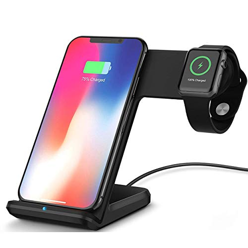 Bysionics Wireless Charger,2 in 1 Fast Qi Phone Wireless Charging Stand & Wireless Charging Dock Compatible for Apple iWatch Series 4/3/2/1 Black