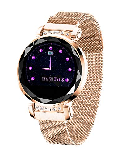 Smart Watch,Bluetooth Fitness Tracker Color Touch Screen with All-Day Heart Rate and Activity Tracking,Sleep Monitoring with Waterproof Calorie Counter Pedometer for WomenGold