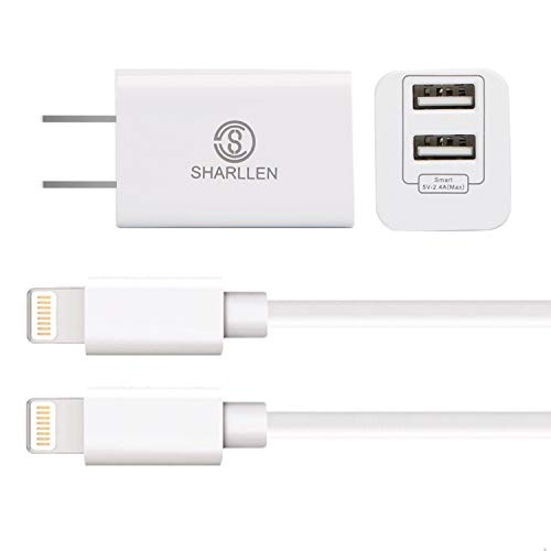 Wall Chargers with 2×6 FT iPhone Charging Cables,Sharllen Dual Port USB Plug Power Adapter Travel iPhone Charger Cord Compatible iPhone Xs/Max/XR/X/8 Plus/8/7/7Plus/6s P/6/6P/iPad/iPod White 3 Pack
