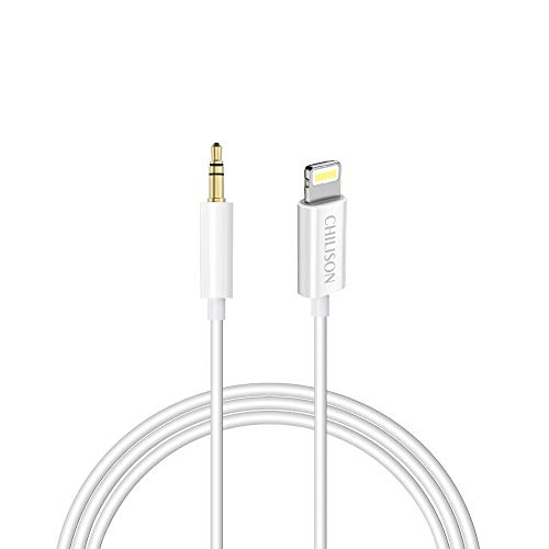 Aux Cable for Car,Chilison Aux Cord Compatible with iPhone 6/7/8/X/Xs/Xr/iPad/iPod 3.3ft 3.5mm Male Audio Adapter for Car Home Stereo &Headphone -White