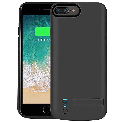 RUNSY Battery Case Compatible with iPhone 8 Plus / 7 Plus / 6S Plus / 6 Plus, 8000mAh Rechargeable Extended Battery Charging/Charger Case, Adds 2X Extra Juice, Supports Wired Headphones 5.5 inch