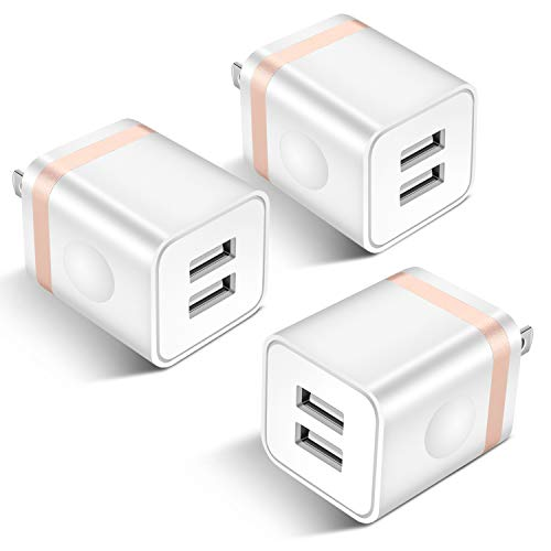 STELECH USB Wall Charger, 3-Pack 2.1A Dual Port USB Power Adapter Wall Charger Plug Charging Block Cube Compatible with Phone Xs Max/Xs/XR/X/8/7/6 Plus/5S/4S, Samsung, LG, Kindle, Android Phone -White