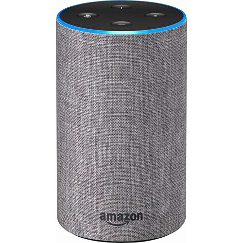 Smart speaker with Alexa and Dolby processing  – Heather Gray Fabric – Echo 2nd Generation
