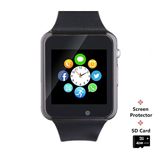 Smartwatch Smart Watch Phone with SD Card Camera Pedometer Text Call Notification SIM Card Slot Music Player Compatible for Android Samsung Huawei LG and IPhone Partial Functions for Men Women Kids