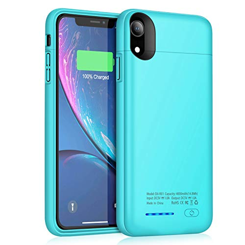 Battery Case for iPhone XR JUBOTY 4000mAh Magnetic Slim Protective Portable Charging Case for iPhone XR Power Bank Rechargeable Battery Charger Case Compatible with Wired HeadphonesBlue