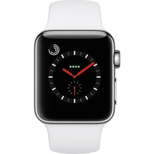 Apple Watch Series 3 38MM, GPS + Cellular, Stainless Steel Case, White Sport BandRenewed