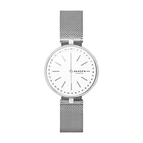 Skagen Connected Women's Signatur T-Bar Stainless Steel Mesh Hybrid Smartwatch, Color: Silver Model: SKT1400