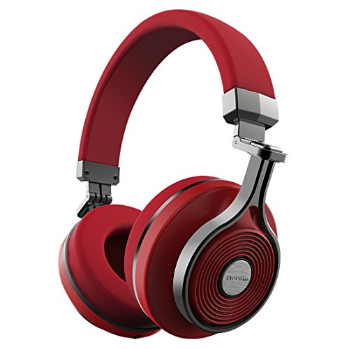 Bluedio T3 Extra Bass Bluetooth Headphones On Ear with Mic, 57mm Driver Folding Wireless Headset, Wired and Wireless Headphones for Cell Phone/TV/PC Gift Red