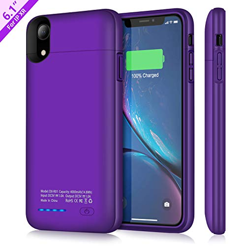 Support Wired Headphones Purple – Battery Case for iPhone XR, TAYUZH 4000mAh Ultra-Slim Protective Portable Charging Case Compatible for iPhone XR Magnetic Battery Case Rechargeable Power Bank Case