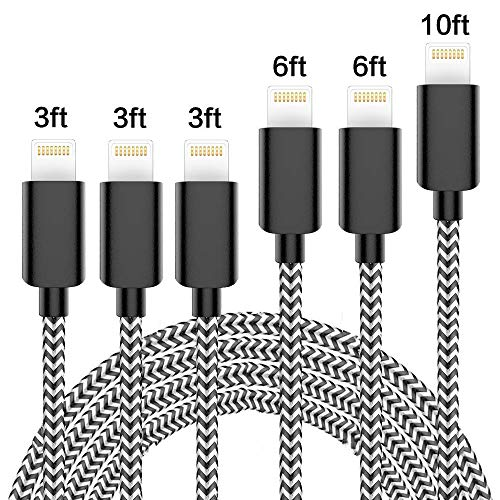 Vertebraid iPhone Charger, MFi Certified Cable 6Pack 3FT 3FT 3FT 6FT 6FT 10FT Extra Long Nylon Braided USB Fast Charging& Syncing Cord Compatible with iPhone/XS/XR/X/8/8Plus/7/7Plus/6S/6Plus/Pad More