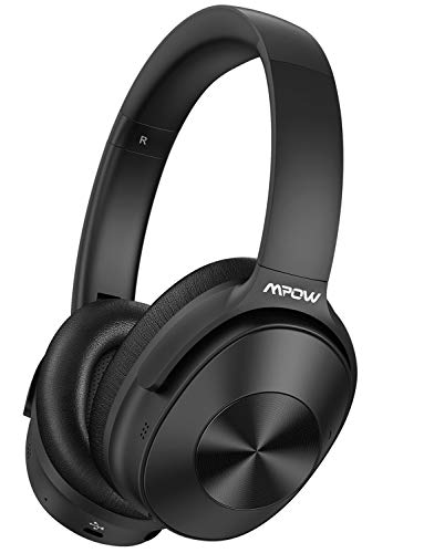 Mpow Hybrid Active Noise Cancelling Headphones, Bluetooth Headphones Over Ear 2019 Version with Hi-Fi Deep Bass, CVC 6.0 Microphone, Soft Protein Earpads, Wireless Headphones for TV Travel Work