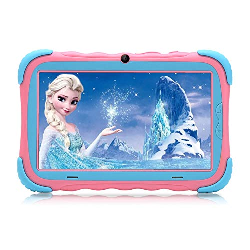 Kids Tablet – Android 7.1 Tablet PC with 7 inch IPS Eye Protection Screen 1GB+16GB WiFi Camera and Bluetooth GMS Certified Kids-Proof Children Tablets Pink