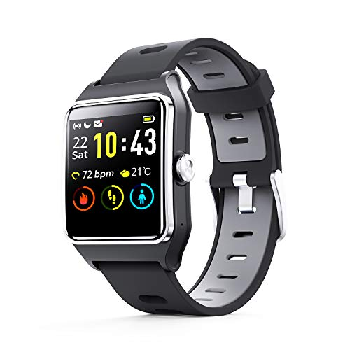 ENACFIRE W2 IP68 Waterproof Fitness Tracker Smartwatch with GPS, Heart Rate Monitor, Sleep Tracker, Step Counter, Activity Watches for Men, Women, Kids, Compatible with Android iOS Phone – Smart Watch