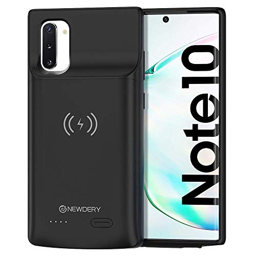 NEWDERY Galaxy Note 10 Battery Case, 5200mAh Wireless Charging Case Rechargeable Extended Charger Case with Full Protection Portable Power Bank Backup Charger Case for Samsung Galaxy Note 10