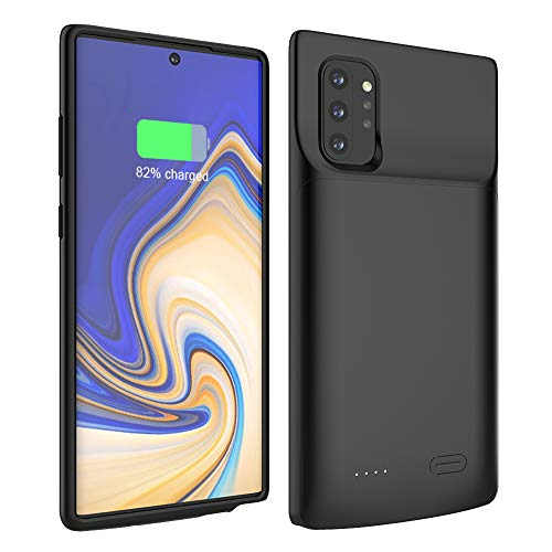 Compatible with Samsung Galaxy Note 10 Plus Battery Case, 6000mAh Rechargeable Portable External Battery Charger Pack Extended Power Bank Backup Charging Case for Samsung Galaxy Note10+ Black
