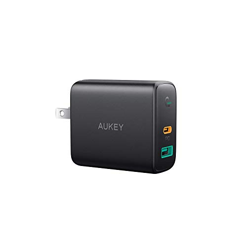 AUKEY USB C Charger 30W, PD Charger with Power Delivery 3.0 & Dynamic Detect, PD Wall Charger Dual Port, Compatible with iPhone 11/11 Pro/Max/XS, Pixel 3 / 3XL, MacBook, Nintendo Switch, and More