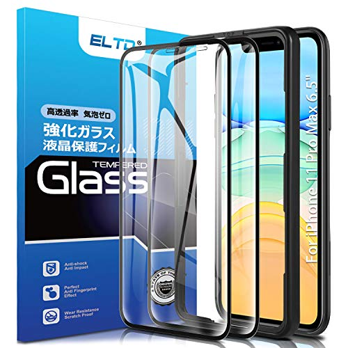 ELTD 2 Pack Screen Protector for iPhone 11 Pro Max 6.5 inch 2019/iPhone Xs Max 6.5 inch 2018,Installation Frame,Case Friendly,Air Bubble Free,HD Full Coverage Tempered Glass Screen Protector