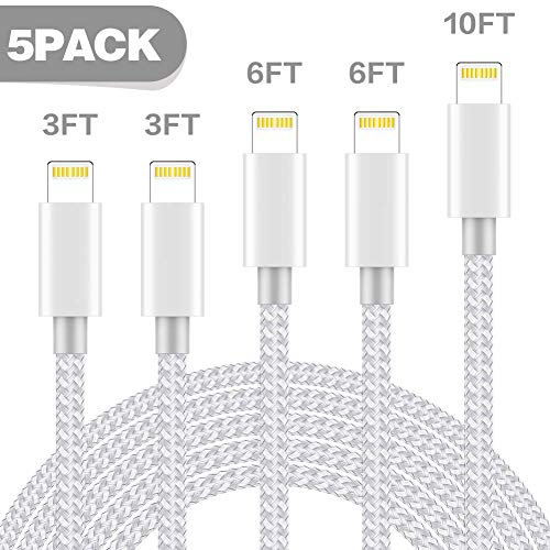iPhone Charger,AYNGWRNB MFi Certified Lightning Cable 5 Pack3+3+6+6+10ft Durable High-Speed Charger Nylon Braided Cord Compatible iPhone Xs/Max/XR/X/8/8Plus and More