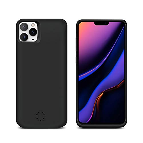 Compatible with iPhone 11 Pro Max 6.5 Inch Battery Case, 6000mAh Rechargeable Portable External Battery Charger Pack Extended Power Bank Backup Charging Case for iPhone 11 Pro Max 2019 6.5″ Black