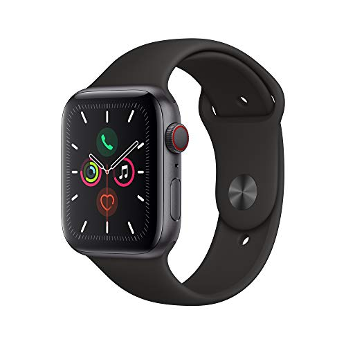 Space Gray Aluminum Case with Black Sport Band – Apple Watch Series 5 GPS+Cellular, 44mm