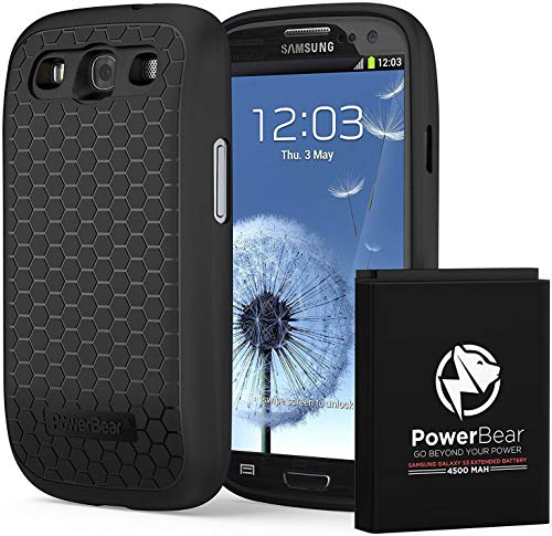 PowerBear Samsung Galaxy S3 Extended Battery 4500 mAh with Cover & Case 210% Battery