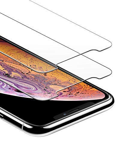 Anker 2-Pack GlassGuard Screen Protector foriPhone 11 Pro Max/iPhone Xs Max, 6.5 Inch with Alignment Frame for Easy, Bubble-Free Installation and DoubleDefence Tempered Glass Case Friendly