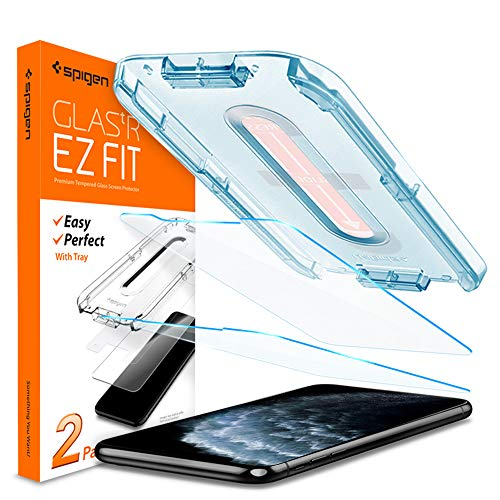 2 Pack – Spigen Tempered Glass Screen Protector Glas.tR EZ Fit Designed for iPhone 11 Pro/iPhone Xs/iPhone X 5.8 inch Case Friendly