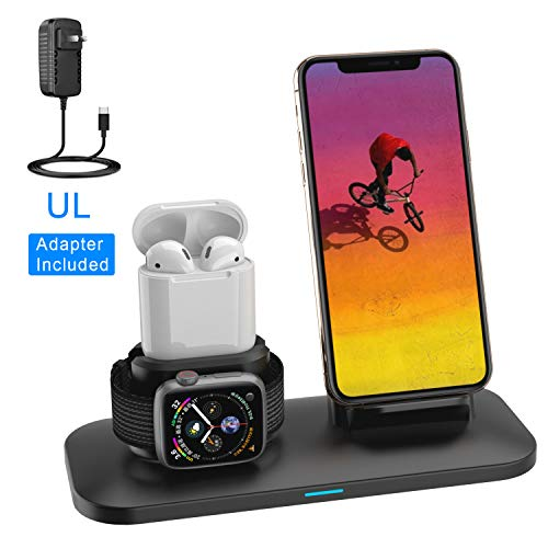 Wireless Charger, 3 in 1 Charging Station for Apple, Wireless Charging Stand Apple Watch Charger for Apple Watch and iPhone Airpod Compatible for iPhone X/XS/XR/Xs Max/8 Plus iWatch 4 3 2 1 Airpods1 2
