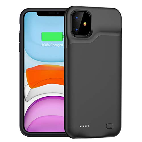 Battery Case for iPhone 11, 6000mAh Portable Protective Charging Case Compatible with iPhone 11 6.1 inch Rechargeable Extended Battery Charger Case Black