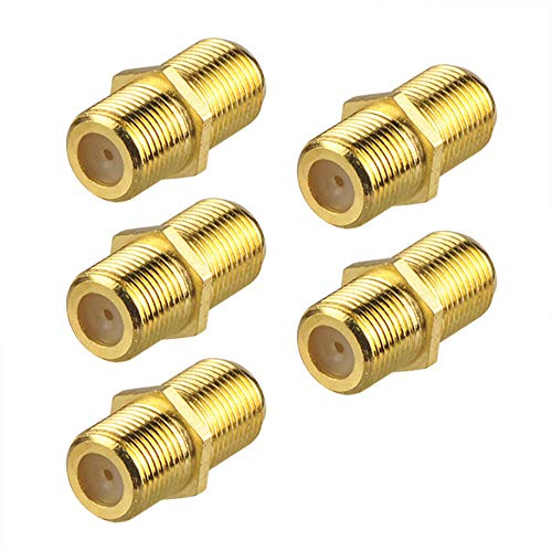 VCE 5-Pack Gold Plated F-Type Coaxial RG6 Connector,Cable Extension Adapter