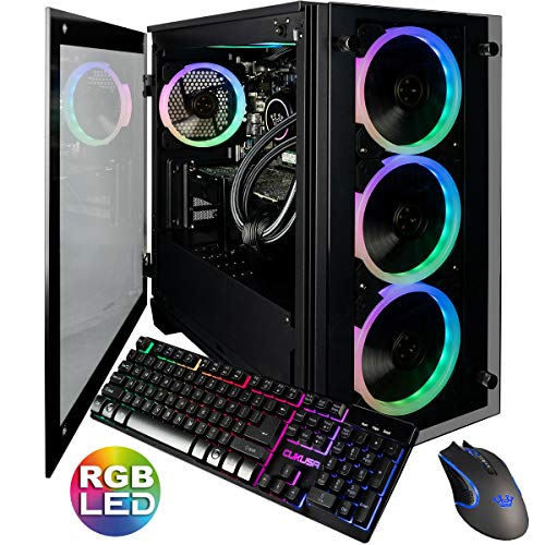 CUK Stratos Micro Gaming PC Liquid Cooled Intel Core i9-9900K, NVIDIA GeForce RTX 2080 Ti, 32GB RAM, 1TB NVMe SSD + 2TB, 750W Gold PSU, Z390 Motherboard Best Tower Desktop Computer for Gamers