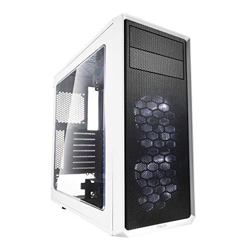 High Airflow – Mid Tower Computer Case – Fractal Design Focus G – 2X Silent ll Series 120mm LED Fans Included – USB 3.0 – White – ATX – Window Side Panel