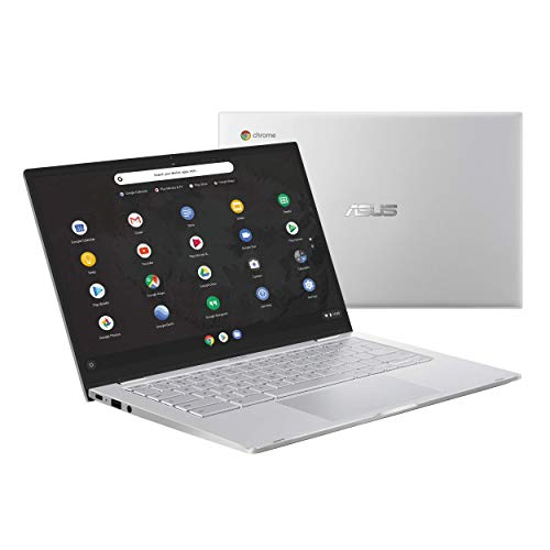 Asus Chromebook C425 Clamshell Laptop, 14″ FHD 4-Way NanoEdge, Intel Core M3-8100Y Processor, 8GB RAM, 64GB eMMC Storage, Backlit KB, Silver, Chrome OS, C425TA-DH384