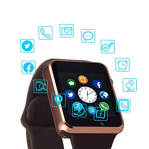 Smart Watch Color Touch Screen Bluetooth Smart Watch Sports Smart Watch TF/SIM Card Slot Smart Watch Multi Function Smart Watch Compatible with Samsung Android iPhone iOS Kids Women Men Gold