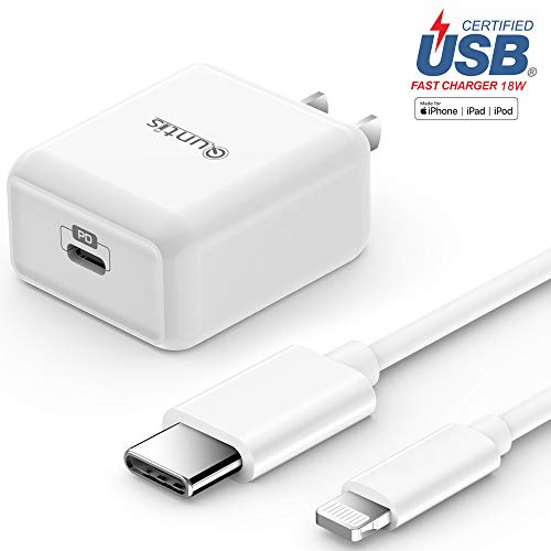 iPhone Fast Charger Apple Certified – Quntis Lightning Cable 6FT with USB C Wall Charger 18W Support Power Delivery for iPhone 11 Xs Max XR X 8 Plus iPad Pro Compatible for iPhone 7 6 Plus 5S, White