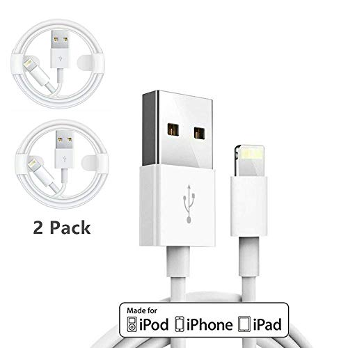 2 Pack Apple iPhone/iPad Charging/Charger Cord Lightning to USB CableOriginal Apple MFi Certified Compatible iPhone X/8/7/6,iPad Pro/Air/Mini,iPod Touch1M/3.3FT