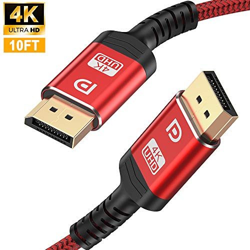 DisplayPort Cable,Capshi 4K DP Cable Nylon Braided -4K@144Hz, 4K@60Hz, 2K@165Hz Gold-Plated DP to DP Cable Ultra High Speed Display Port Cable 10ft for Laptop PC TV etc- Gaming Monitor Cable Red