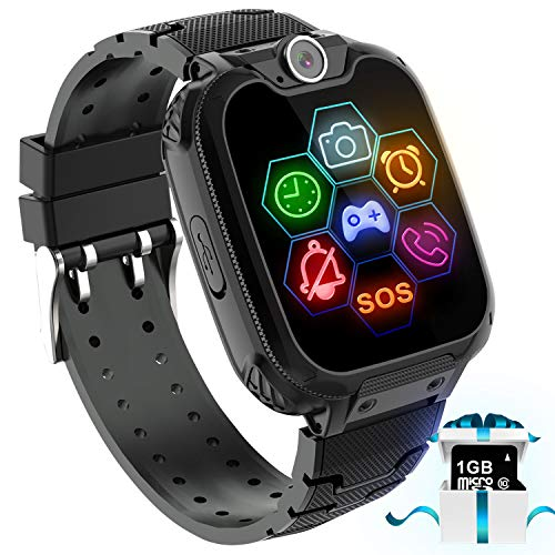 Karaforna Kids Game Smart Watch Phone – Boys Girls Smartwatch Phone with 7 Games Camera Alarm Clock Touch Screen SOS Call for Children Birthday Gifts with 1GB Micro SD Card Kids Phone Watches